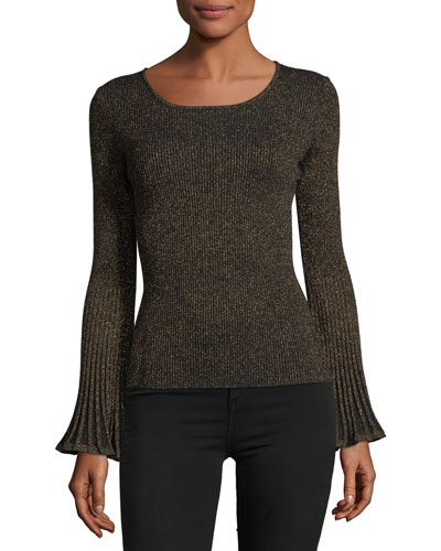 Flare-Sleeve Ribbed Metallic Sweater