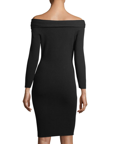 Twisted Off-the-Shoulder Knit Cocktail Dress