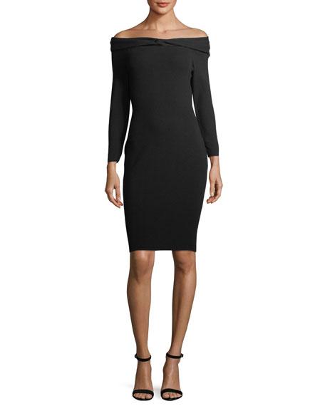 Twisted Off-the-Shoulder Knit Cocktail Dress