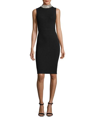 Sleeveless Rhinestone-Collar Cocktail Sheath Dress