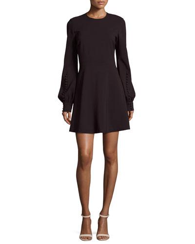 Lauren Jewel-Neck Blouson-Sleeve A-Line Dress