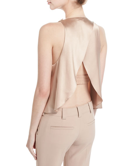 Jasper Sleeveless Open-Back Satin Blouse