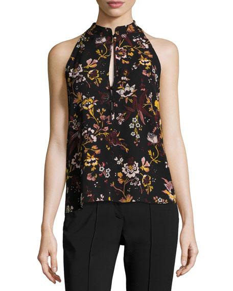 Keith Sleeveless Floral-Print Silk Top