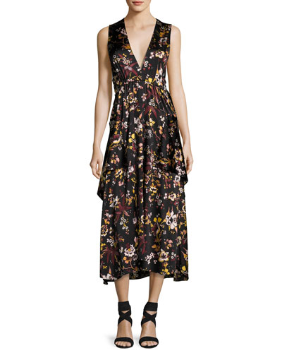 Verena V-Neck Sleeveless Floral-Print Satin Dress
