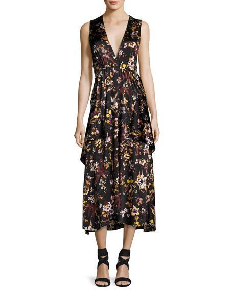 A.L.C. Verena V-Neck Sleeveless Floral-Print Satin Dress