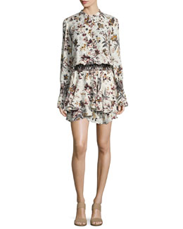 Landry Long-Sleeve Blouson Floral-Print Silk Dress