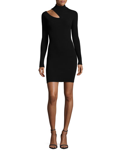 West Long-Sleeve Slit-Shoulder Fitted Sweater Dress