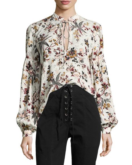 Ty Floral-Printed Split-Neck Silk Blouse