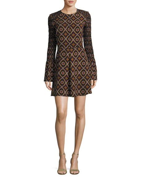 Alexa Kaleidoscope-Print Smocked-Sleeve A-Line Dress