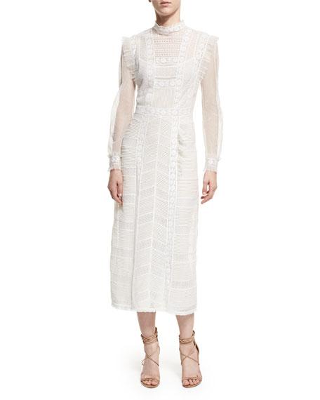 Long-Sleeve Lace Mesh Dress