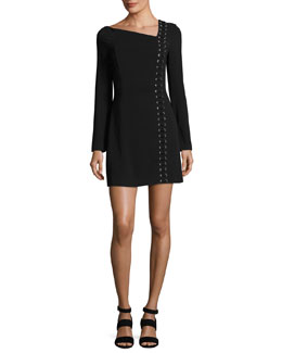 Luca Lace-Up Asymmetric-Neck Long-Sleeve Crepe Dress