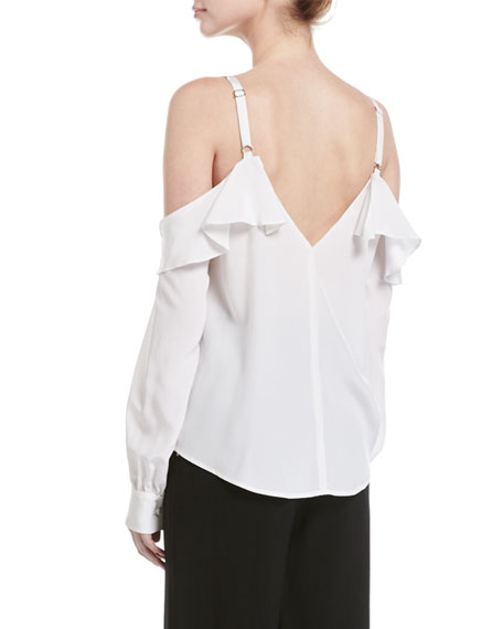 Felix V-Neck Cold-Shoulder Silk Top