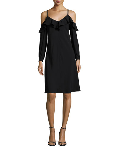 Felicia Cold-Shoulder Ruffled Crepe Dress