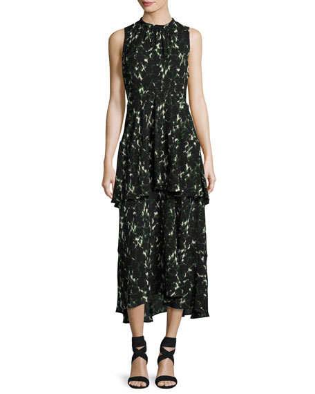 Wylon Sleeveless Printed Silk Maxi Dress