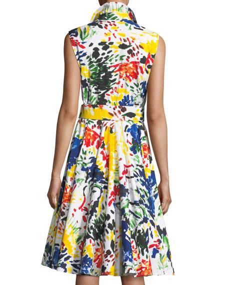 Gigi Sleeveless Abstract-Print Shirtdress