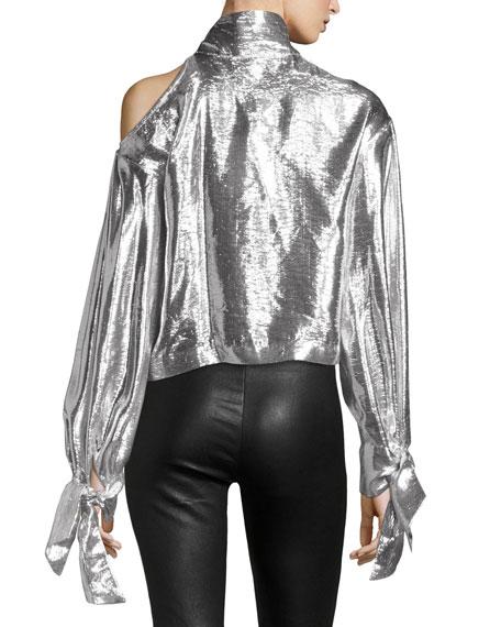 Harjava Tie-Neck Cold-Shoulder Metallic Top