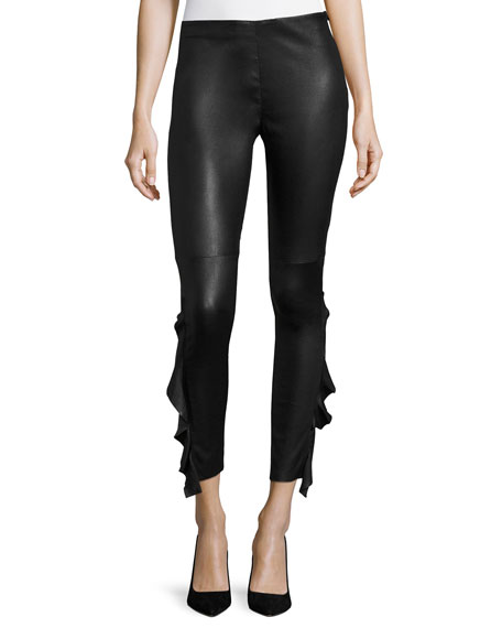 Cardash Lamb Leather Skinny Pants w/ Side Ruffle