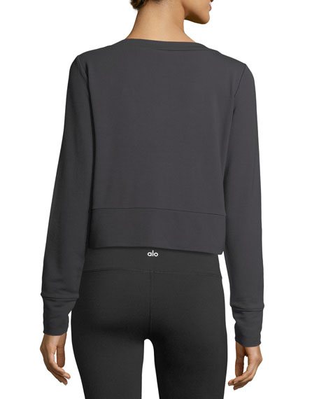 Ideal Lace-Up Long-Sleeve Athletic Pullover Top