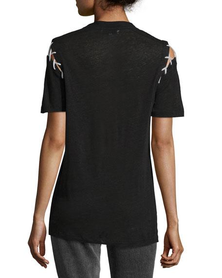 Melly Crewneck Lacing Short-Sleeve Linen Top