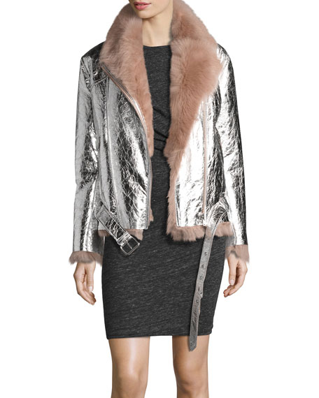 Metallic Leather Biker Jacket with Shearling Lining