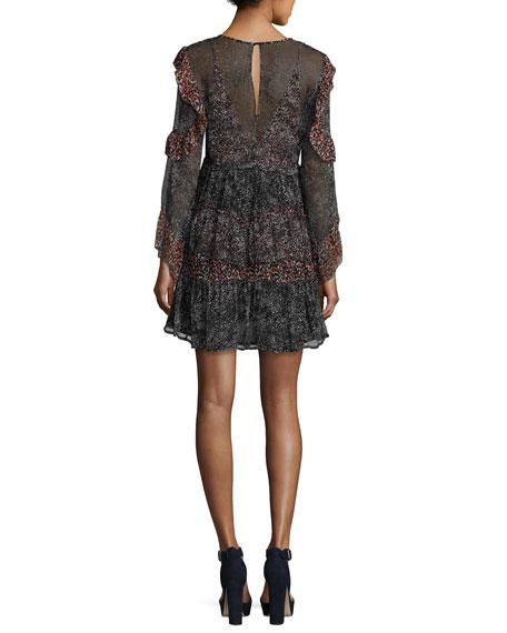Trillie Tiered Printed Chiffon Mini Dress