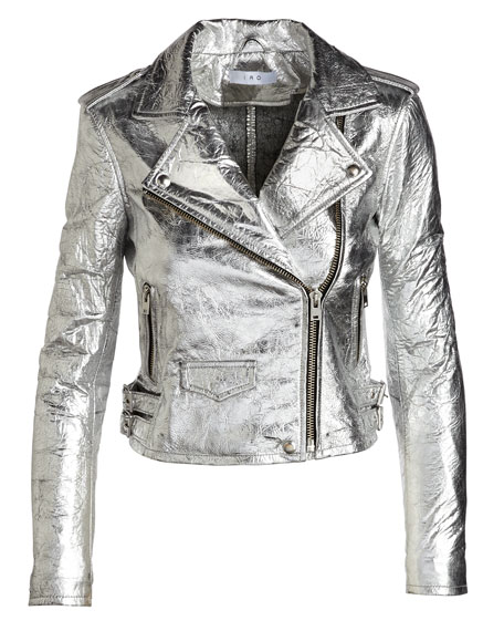 Axelle Metallic Leather Motorcycle Jacket