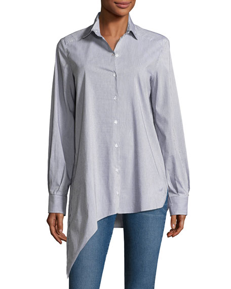 Uneal Striped Button-Front Oversized Oxford Shirt
