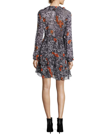 Villia Printed Wrap Mini Dress w/ Ruffled Trim