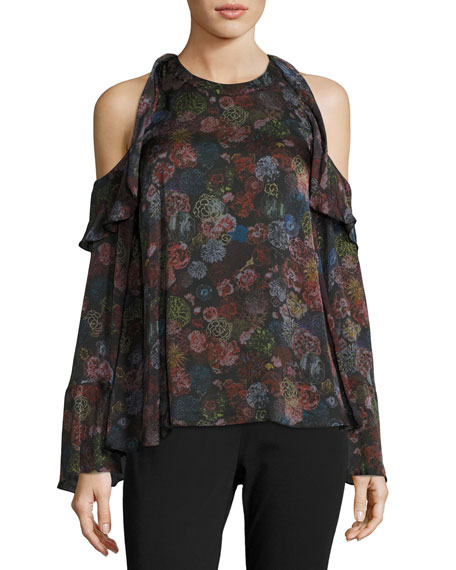 Ciclan Cold-Shoulder Floral-Print Silk Top