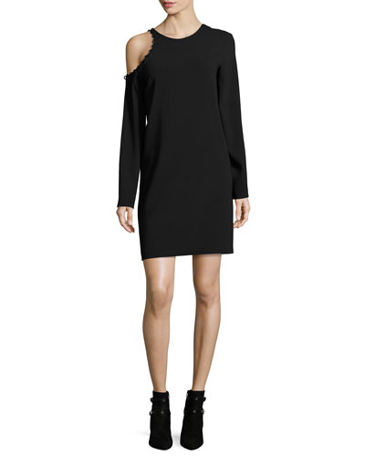 Breen Cold-Shoulder Long-Sleeve Crepe Dress
