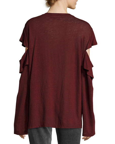 Enmalta Split Long-Sleeve Linen Tee