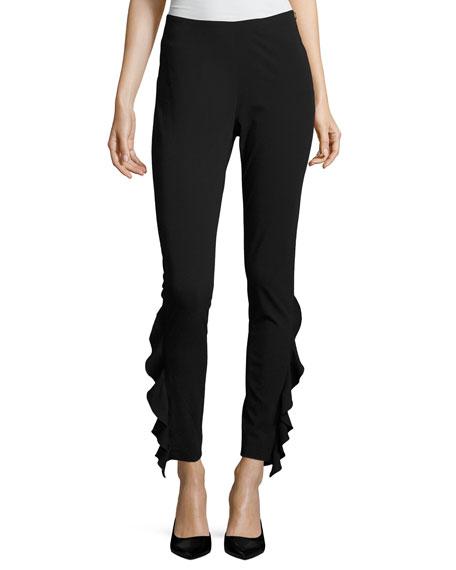Fholan Slim-Fit Ponte Pants w/ Ruffled Trim