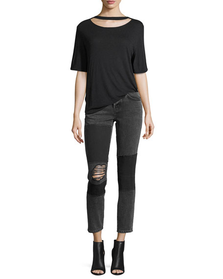 Lep Mid-Rise Patched Distressed Skinny Jeans