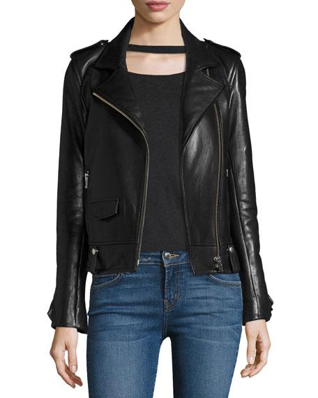 Dumont Lamb Leather Motorcycle Jacket w/ Ruffles