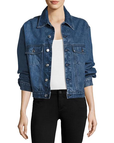 Donna Button-Front Denim Jacket w/ Ruffled Trim