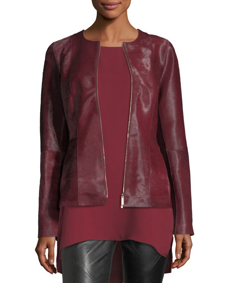 Damien Zip-Front Calf Hair Jacket