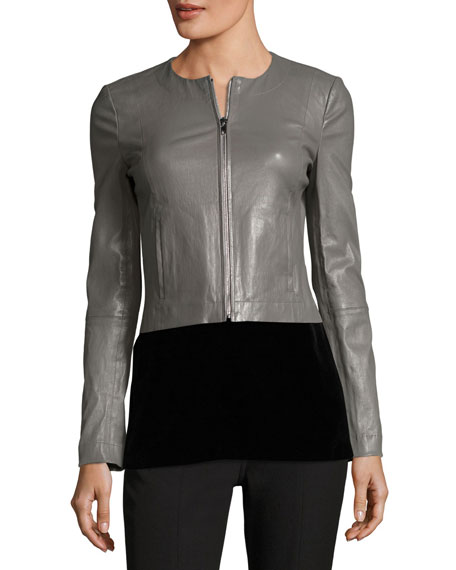 Helen Long-Sleeve Cropped Leather Moto Jacket