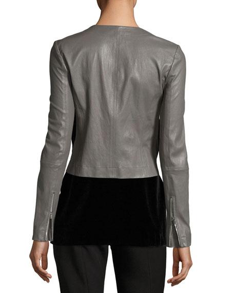 Helen Long-Sleeve Cropped Leather Moto Jacket