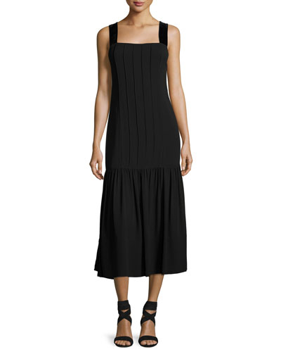 Sabella Wide Velvet Strap Pintuck Dress