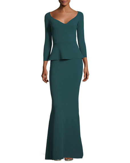 Frances Long-Sleeve Peplum Trumpet Evening Gown