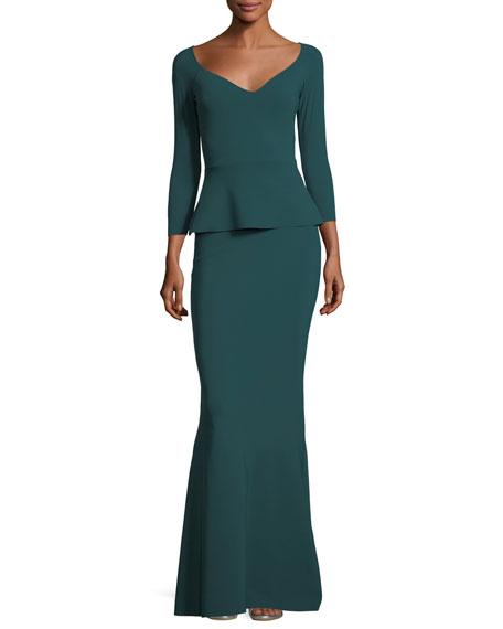 Frances Long-Sleeve Peplum Trumpet Evening Gown