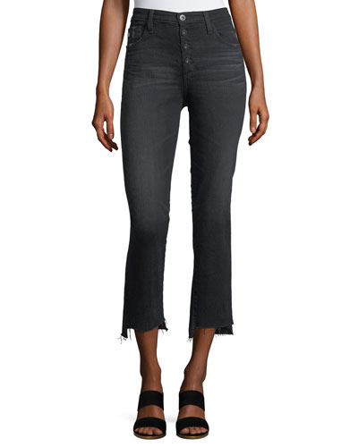 Isabelle High-Rise Straight-Leg Cropped Jeans