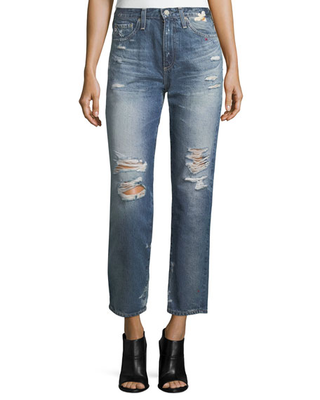 Phoebe Distressed High-Rise Straight-Leg Jeans