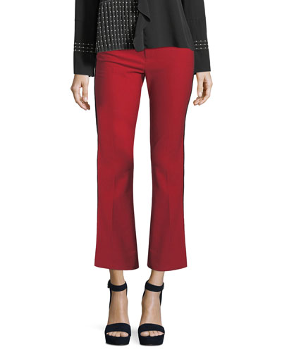 Cropped Flare Trousers w/ Tuxedo Piping