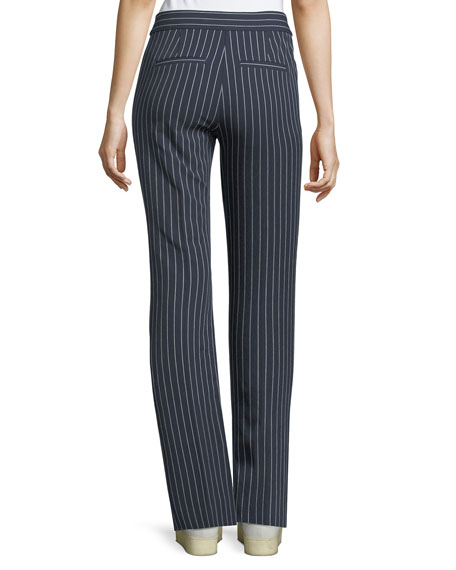 Mid-Rise Striped Flare Cotton-Stretch Trouser
