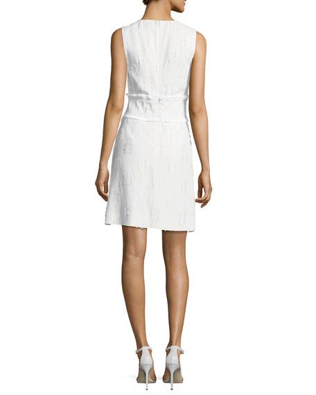 Sleeveless High-Neck Sheath Dress w/ Fringed Trim