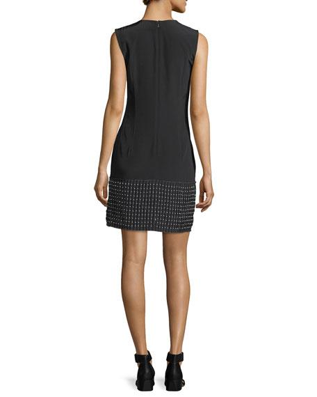 Sleeveless V-Neck Cascade Dress w/ Beading