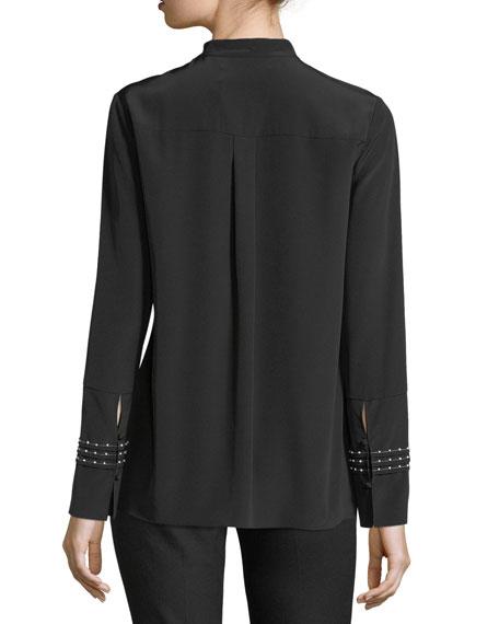 Mock-Neckline Long-Sleeve Beaded Pleated Silk Blouse