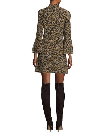 Bell-Sleeve Cascade-Ruffle Printed Silk A-line Dress