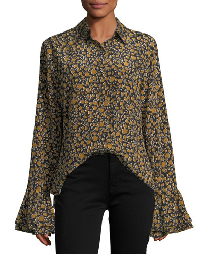 Long-Sleeve Button-Front Printed Blouse w/ Ruffle Cuffs